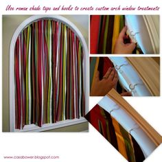 Custom window treatments for arch windows - details on how to make them on the blog...