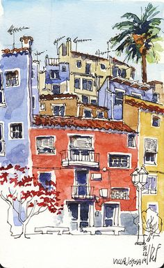 Sketching Nice use of colors, love the round perspective! Urban Sketchers: The Spanish seafront in winter Architecture Drawing Art, Watercolor Architecture, Watercolor Landscape, Watercolor Trees, Watercolor Portraits, Watercolor Painting, Urban Painting, Architecture Panel, Architecture Portfolio