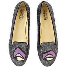 CHIARA FERRAGNI Disney Maleficent Glittered Loafers - Dark Silver found on Polyvore
