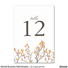 Blissful Branches Table Number Card Table Cards