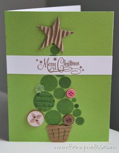 Button Christmas Tree Card www.fancymelissa.com #ctmh #cricut #artphilosophy #handmade #craft #diy