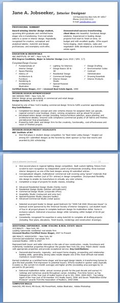 Interior Design Resume Interior design resume, Design resume and - interior design resumes