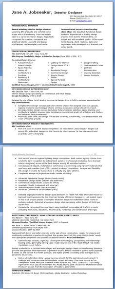 assistant interior design intern resume template Interior Designer