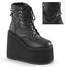 Demonia Swing 101 Black Matt Lace up Ankle Boots with Chain Detail