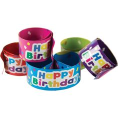 Slap bracelets fit most wrist sizes and are a fun way to reward good behavior or build awareness for special events. Measures x 2 each of 5 colors. 10 pieces per pack. Happy Birthday Best Friend, Happy Birthday Sister, Happy Birthday Balloons, Happy Birthday Funny, Birthday For Him, Happy Birthday Quotes, Birthday Wishes, 10th Birthday, Birthday Ideas