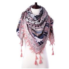 Fashion Winter Warm Women's Square Warp Scarf Shawl Scarves Bohemia Tassel Printed Blanket
