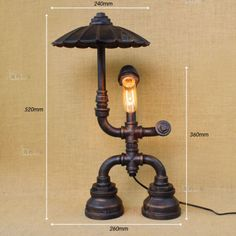 Industrial Machine Age Pipe Steampunk Robot Antqiue Table / Desk Lamp Light New #JYIndustrialLights #Country