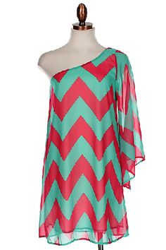 Chevron Turquoise And Coral One Shoulder Dress