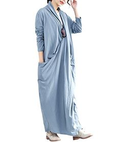 92fb1b0c9ef QA3 Women Long Loose Maxi Sexy Dress 100% Cotton Crossing Front Big Pocket  Elegant Lady