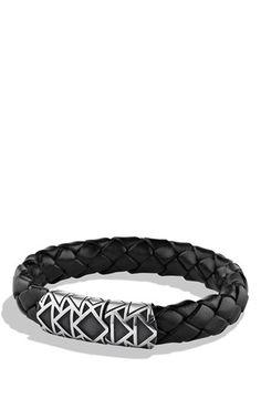 David Yurman 'Frontier' Woven Bracelet in Black with Turquoise | Nordstrom