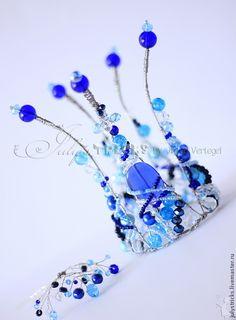 Купить Голубая корона для девочки - голубой, синий, корона, корона из проволоки, корона для принцессы