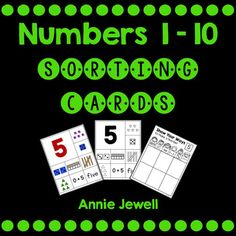 This easy prep activity includes a large number card for each number 1  10 and eight smaller cards. The smaller cards include ten frames, base ten cubes and ten stick, dice, number word, an equation, set of triangles, and tally marks. Follow up the sorting activity with recording sheets so students can show their understanding.