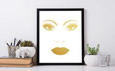 Lips print Lashes print Gold print by InstantDownloadArt1 on Etsy