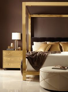 Fabulous Furniture. Bernhardt's Kensington Brass Four Poster Bed.