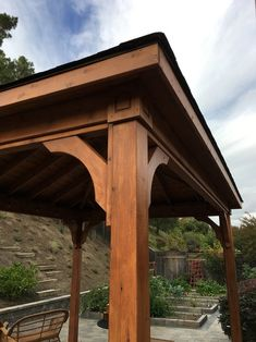 x roof span Red Cedar Pavilion - Traditional Roof / sq. columns extended length / Electrical kit / Heavy Duty Anchors / Black roof shingles / Sealant/stain combo by Sikkens Red Cedar / San Rafael, CA. Backyard Pavilion, Backyard Retreat, Porch Wood, Cedar Posts, Architectural Shingles, Porch Posts, Porch Columns, Fibreglass Roof, Roof Colors