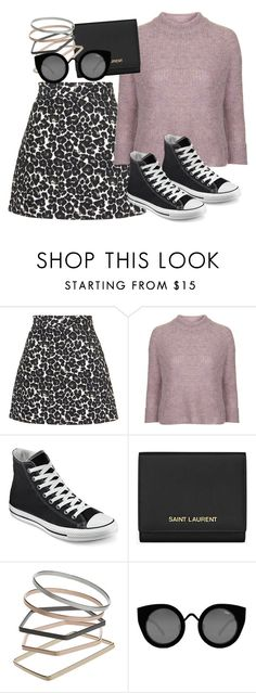 """""""Untitled #2127"""" by erinforde ❤ liked on Polyvore featuring Topshop, Converse, Yves Saint Laurent and Quay"""