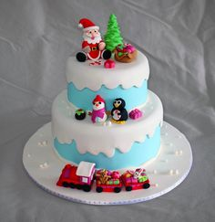 Winter Wonderland Christmas Cake Winter themed christmas cake complete with a jolly snowman, happy penguin, plum pudding, santa and his. Christmas Cake Designs, Christmas Cake Decorations, Christmas Cakes, Cupcakes, Cupcake Cookies, Delia Smith Christmas Cake, Cake Wallpaper, Salty Cake, Cake Images