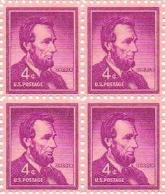 Abraham Lincoln Set of 4 X 4 Cent Us Postage Stamps Scot no.1036a >>> Get more discounts! Click the pin : FREE Toys and Games