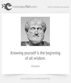 Knowing yourself is the beginning of all wisdom. (Aristotle)