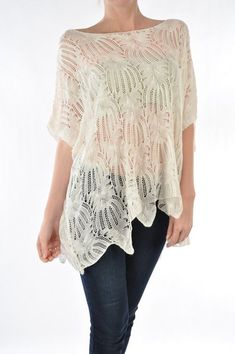Ivory Crochet Tunic - Casual in soft Knit Crochet that drapes Feminine and Chic. Asymmetrical Hem.