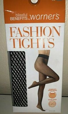 2769de3db WOMANS FASHION TIGHTS - WARNER S Blissful Benefits Black   Nude Fish Net S M