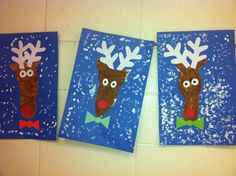 Kindergarten Reindeer- Trace your foot for the head- Q tip painting for the snow.( art teacher: v. Christmas Art Projects, Winter Art Projects, Christmas Activities, Christmas Crafts, Snow Crafts, Cute Crafts, Classroom Art Projects, Art Classroom, Grinch