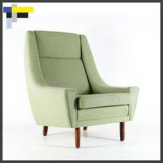 Retro Vintage Danish Design Teak Wool Easy Lounge Chair Armchair 1950s 60s 70s