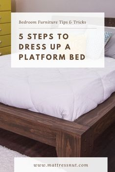 5 Steps to Dress Up a Platform Bed | It is all about adding finishing touches to your platform bed and to your room in relation with the bed. It is time to take a step back and have a look at your beautifully decorated Platform bed and its surroundings. #decor #homedecor #bedroom #furniture #platformbeds #mattressnut Raised Platform Bed, Platform Bed With Storage, Platform Bedroom, Diy Platform Bed, Bed Storage, Bedroom Storage, Bed Designs With Storage, Platform Bed Designs, Bed Frame Design