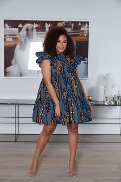 Relaxed fit dress inch overall length Frill sleeves High Neck Frill Collar Invisible zip in. African Fashion Ankara, Latest African Fashion Dresses, African Print Fashion, Africa Fashion, Tribal Fashion, African Style, Short African Dresses, African Print Dresses, Short Dresses