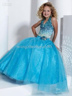 Wholesale New Blink Blue beaded Halter Ball Gown Girl Pageant Formal Dance Party Evening Prom Wedding Dress, Free shipping, $86.36/Piece   DHgate