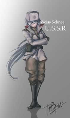 """""""To free my comrades, I must fight"""" Full of talent, spirit and a piercing passion, the cold comrade Weiss """"The White Death"""" will defend her people and f. World War II RWBY - Weiss Schnee Rwby Anime, Rwby Fanart, Fanarts Anime, Anime Military, Military Girl, Military Soldier, Rwby Weiss, Rwby Yang, Rwby White Rose"""