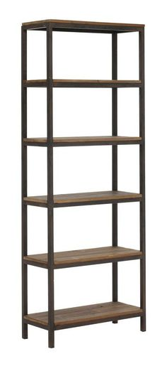 Crafted from iron and hardwood, it displays books and other collectibles from 4 open sides. Distressed to replicate its forebear with the patina of age, let the Mission Bay Tall 6 Level shelf add character to any room | domino.com