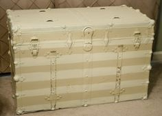 Old Trunk- see comments for fabric starch idea to the inside.  Do I paint or leave as is on exterior?