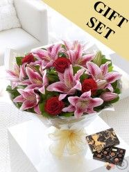 Red Rose and Pink Lily Hand-tied & Chocolates Beautiful Flower Arrangements, Floral Arrangements, Rose Lily, Pink Lily, Anniversary Flowers, Online Florist, Hand Tied Bouquet, Order Flowers Online, Flowers Delivered