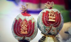 How to Decorate Coconut for Indian Wedding. You can decorate coconuts for Indian wedding at home by just gluing stones, gods' idols and pictures on it, or writing the names of the bride. Wedding Mandap, Garland Wedding, Telugu Wedding, Wedding Crafts, Wedding Art, Wedding Stuff, Wedding Ideas, Wedding Unique, Desi Wedding