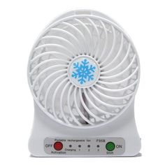 "4"" Mini USB Portable Desktop Cooling Fan Rechargeable Battery, 3 Speed (White) #REFENG"