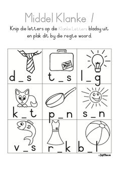 Middel Klanke 1 • KraftiMama Grade R Worksheets, Phonics Worksheets, Afrikaans Language, Preschool Writing, Basic Math, Kids Learning Activities, Kids Education, Diy For Kids, Napoleon Hill