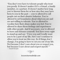 Lessons Learned in Life | People who treat you poorly.
