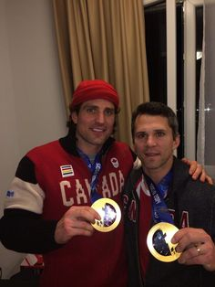 Patrick Sharp & Marty St Louis after winning gold for Team Canada [Feb 13, 2014]