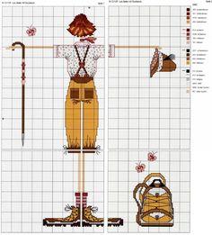 0 point de croix lulu belle en randonnée avec sac à dos - cross stitch lady lulu belle to go hiking with a backpack