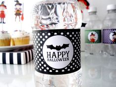 Happy Halloween Water Bottle Labels Printable by Partymazing