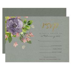 RUSTIC VIOLET GREY WILD FLOWERS & FOLIAGE MONOGRAM CARD - bridal shower gifts ideas wedding bride