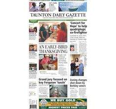 The front page of the Taunton Daily Gazette for Wednesday, Nov. 26, 2014.