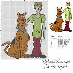 Scooby Doo and Shaggy characters from cartoon Scooby Doo free cross stitch pattern
