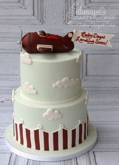 Vintage Airplane Baby Shower Cake Cake for birthday Baby Cakes, Baby Shower Cakes, Airplane Baby Shower Cake, Baby Boy Shower, Cupcake Cakes, Cake Pops, Pretty Cakes, Cute Cakes, Airplane Birthday Cakes