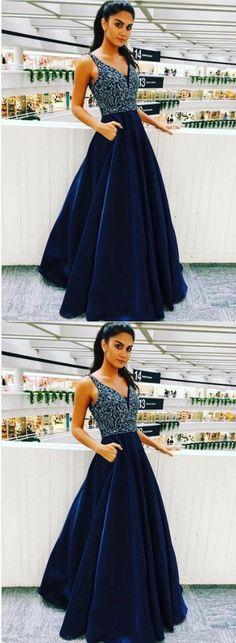 Elegant V Neck Prom Dress with Beaded, Long Homecoming Dress, Navy Blue Prom Dresses M3537