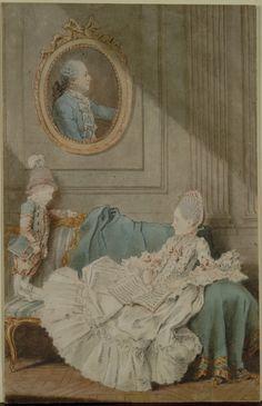 Madame Millin du Perreux and Her Son, with a Painted Portrait of Monsieur Jérôme-Robert Millin du Perreux, c. 1760 by Louis Carmontelle (1717-1806) (Cleveland Museum of Art)