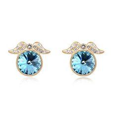 Tiny Angel Wings Design Austrian Crystal Earrings - Blue