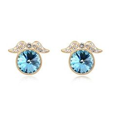 Tiny Angel Wings Design Austrian Crystal Earrings - Blue