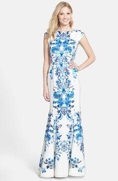 Eliza J Print Crêpe de Chine Mermaid Gown (Regular & Petite) available at #Nordstrom